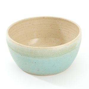Turquoise blue handmade round pottery water bowl