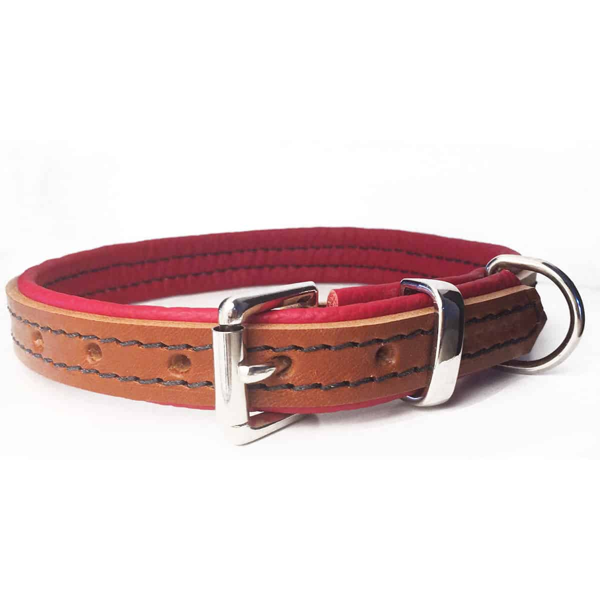 Tan and red padded leather dog collar