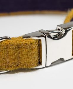 Yellow Harris tweed designer dog collar