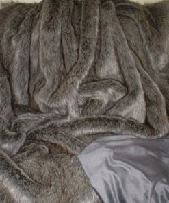 Grey wolf faux fur blanket