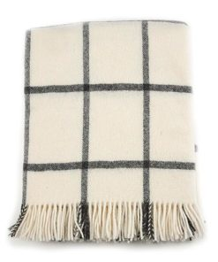 Check cream new wool blanket