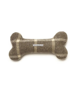 Grey Tweed Squeaky Bone Toy