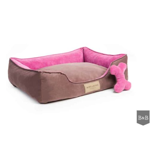 Classic pink bolster bed. Luxury dog beds. Bowl and Bone