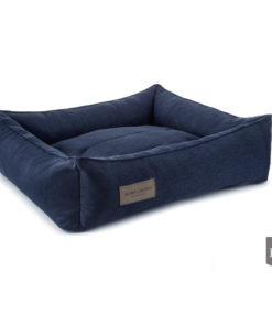 Urban navy bolster dog bed. Luxury dog beds. Bowl and Bone