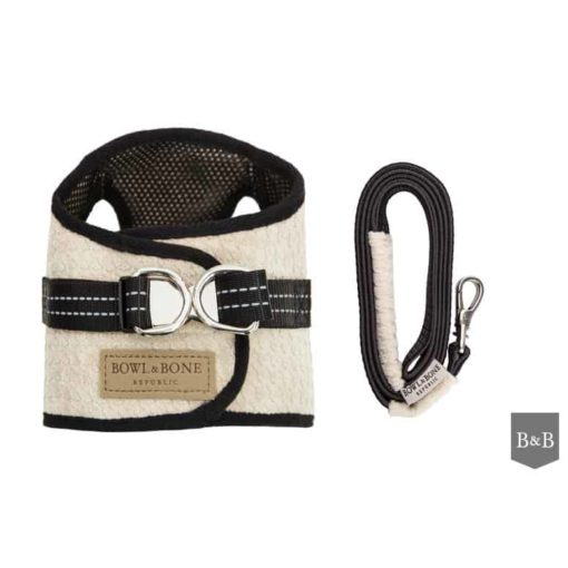 Cream soho dog harness with matching lead