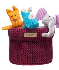 Raspberry cotton dog toy basket