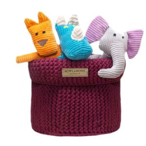 Raspberry cotton dog toy basket
