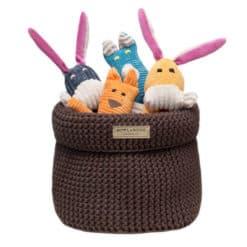 Brown cotton dog toy basket