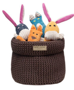 Brown cotton dog toy basket