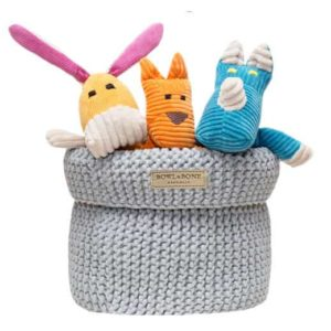 Grey cotton toy basket