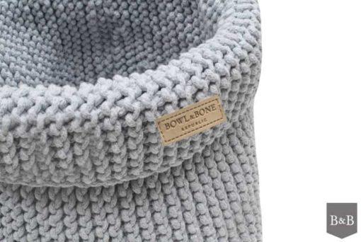 Grey cotton dog toy basket