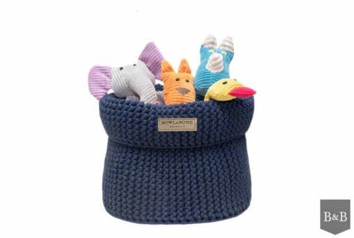 Navy blue cotton dog toy basket
