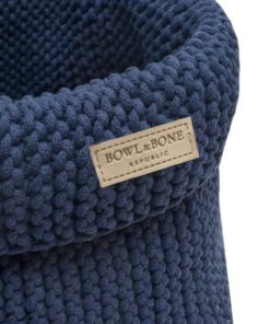 Navy blue cotton dog toy basket