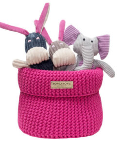 Pink cotton dog toy basket