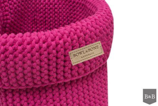Pink cotton dog toy basket. luxury dog shop.