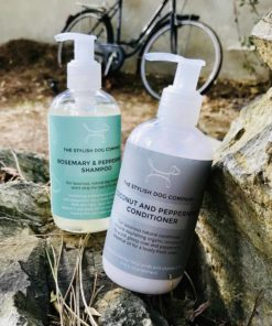 Coconut and peppermint natural dog shampoo and coconut and peppermint dog conditioner set from The Stylish Dog Company