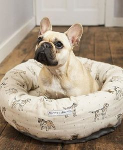 Dog Print Natural Donut Bed
