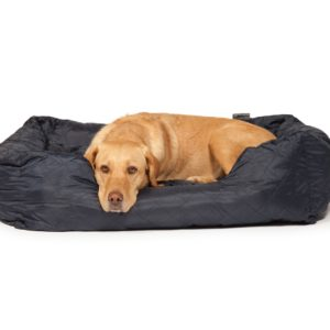 Quilted navy snuggle bolster bed