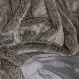 Grey wolf faux fur blanket
