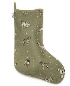 Dog Print Green Stocking