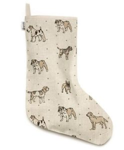 Dog Print Natural Stocking