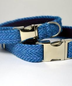 Dark blue herringbone harris tweed designer dog collar
