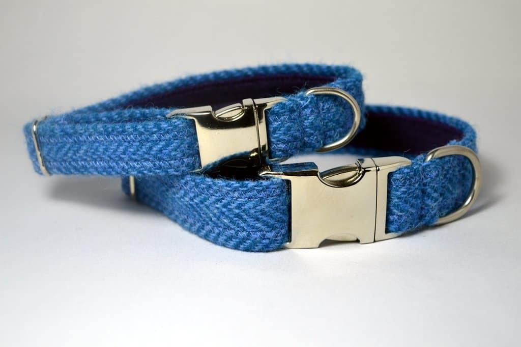 Dark blue herringbone harris tweed designer dog collar