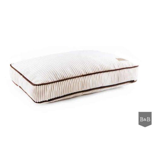 Ivory cordurory boxed dog cushion. Luxury Dog Beds UK