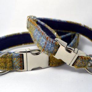 Mustard and blue harris tweed dog collar