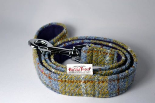 Mustard and blue harris tweed dog lead. Luxury dog leads