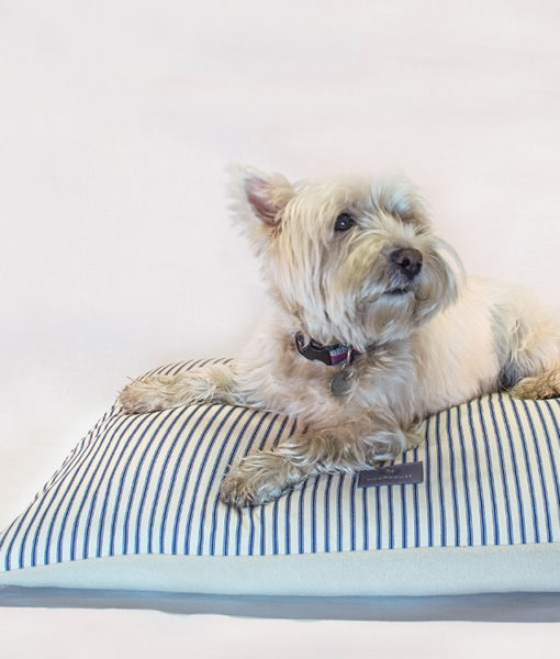 Navy and cream ticking dog cushion