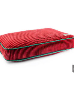 Ruby red boxed dog cushion