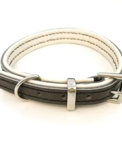 Dark grey and cream padded leather dog collar