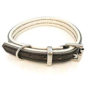 Dark grey and cream padded leather dog collar
