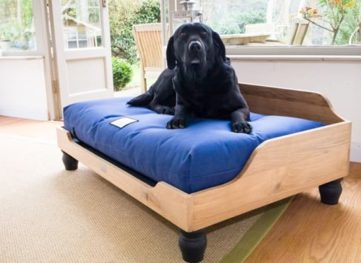 Wooden oak raised dog bed with Waterproof Orthopaedic Dog Mattress