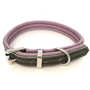 Grey and dusky pink, dusky lilac padded leather dog collar