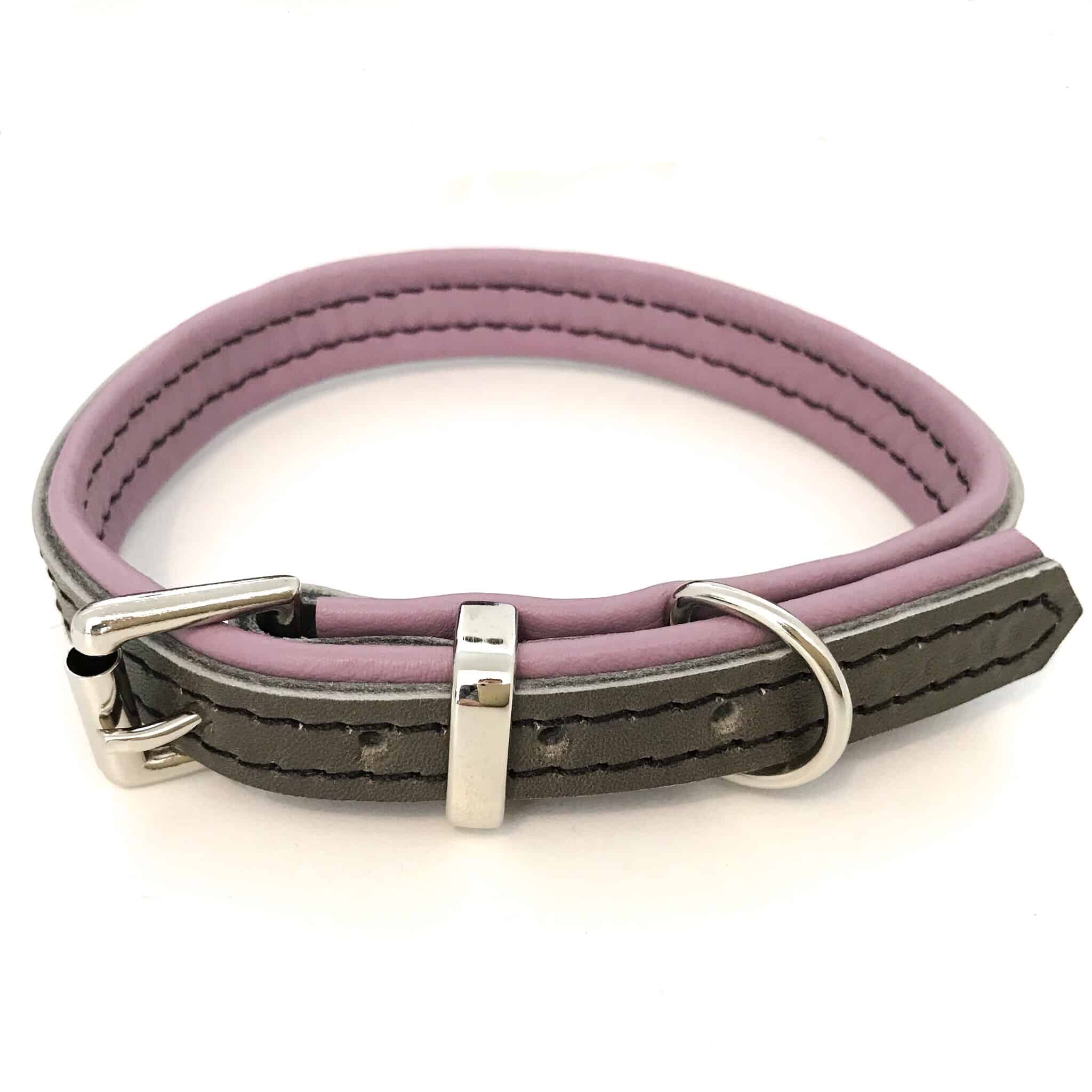 Grey And Dusky Pink Padded Leather Dog Collar  U2013 The