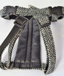 Grey herringbone Harris tweed dog harness