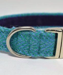 Teal and Light Blue Herringbone Tweed Dog Collar