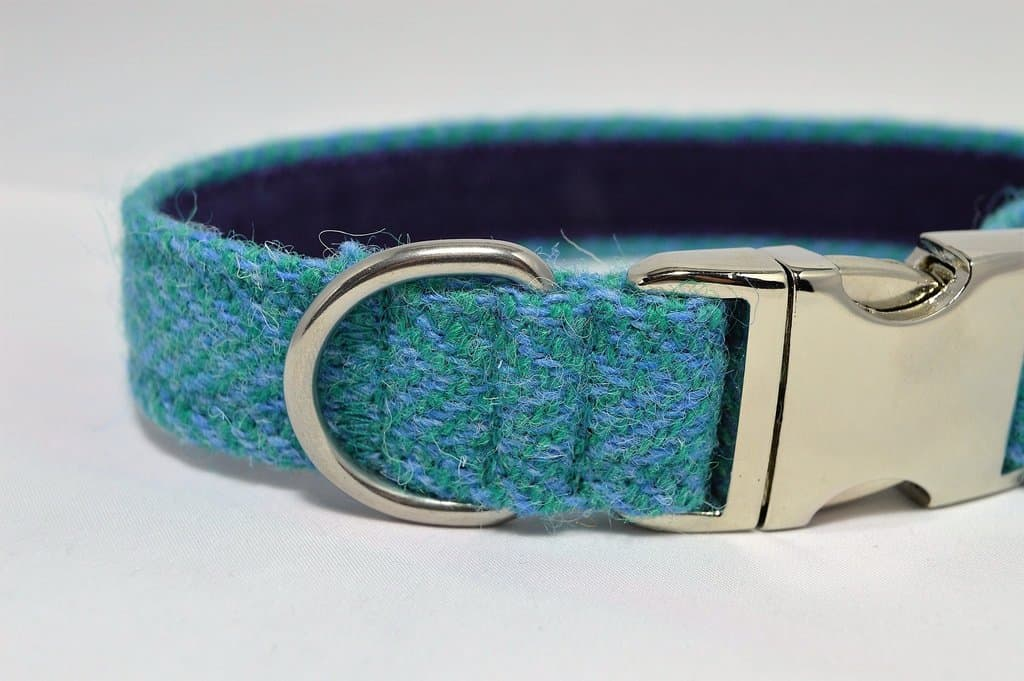 Teal and Light Blue Herringbone Tweed Dog Collar