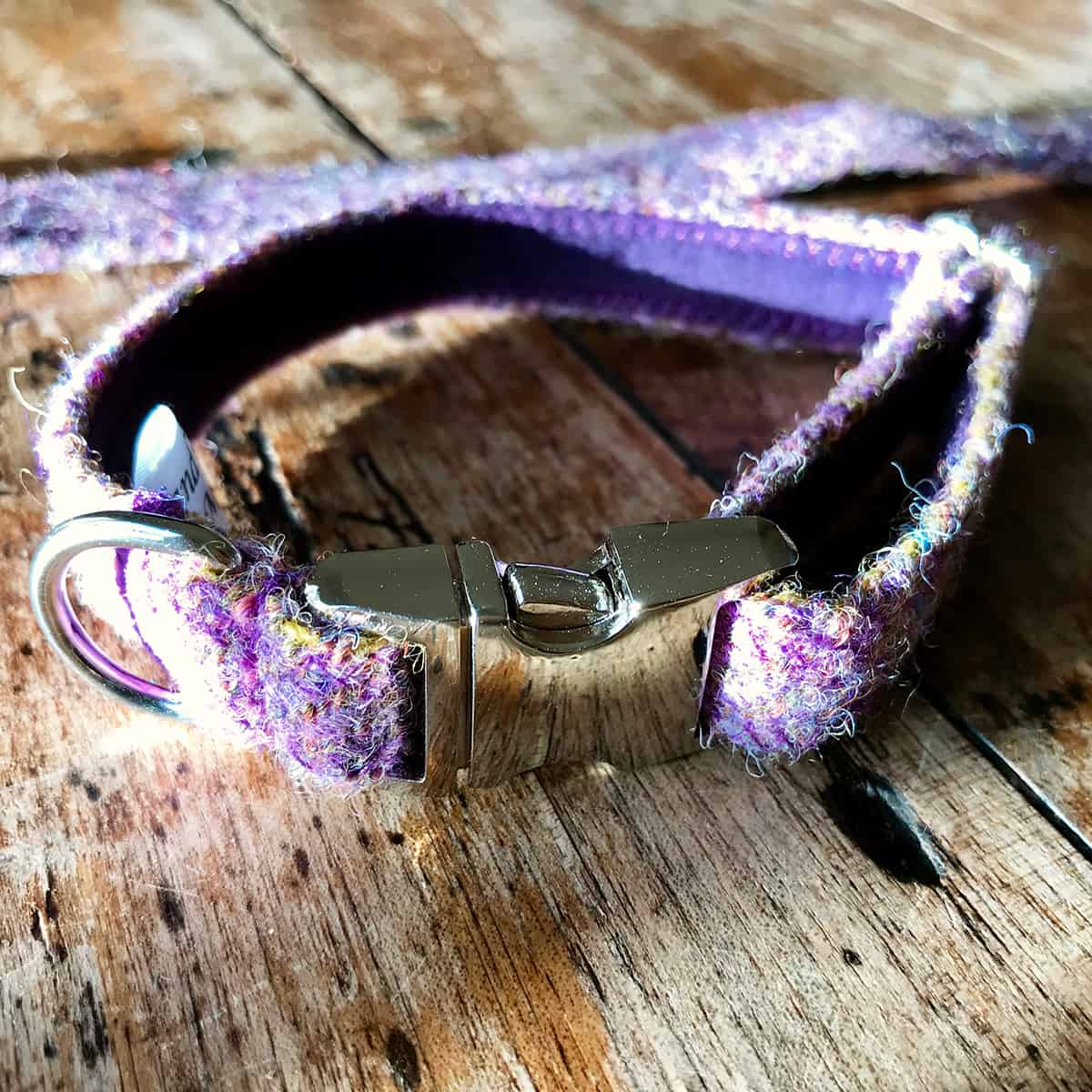 Lavender tweed dog collar