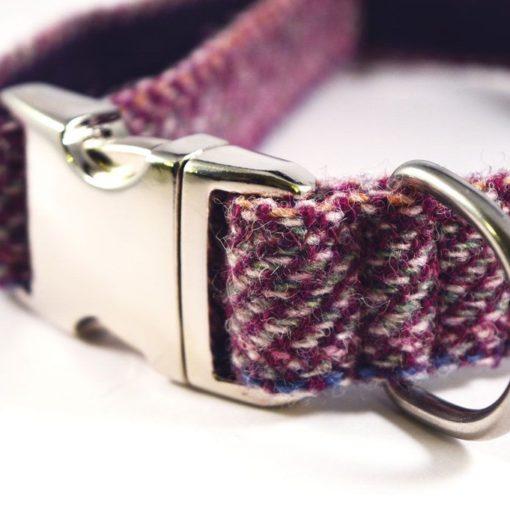 Lilac Herringbone Harris Tweed Dog Collar
