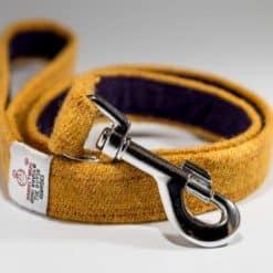 Yellow Harris Tweed Dog Lead. Luxury dog leads