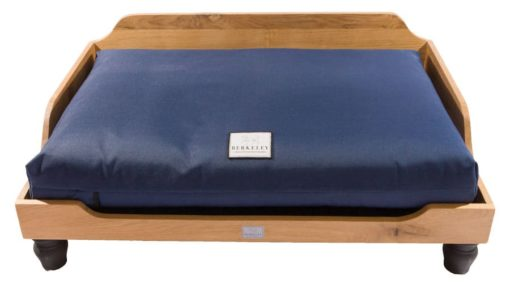 Wooden oak raised dog bed with Waterproof Orthopaedic Dog Mattress