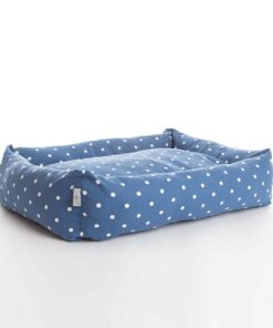 Denim blue dotty bolster bed