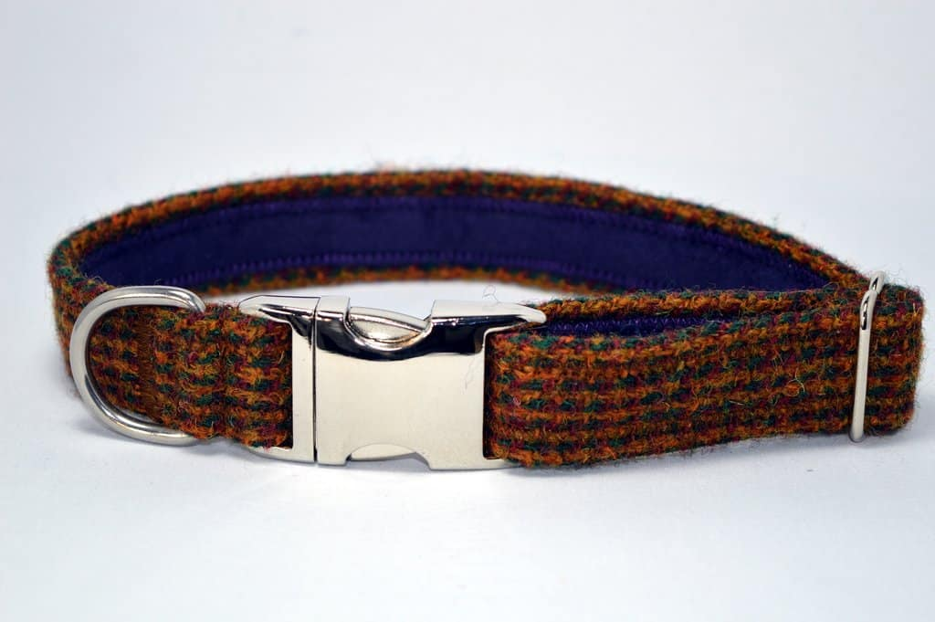 Brown Mix Harris Tweed Dog Collar