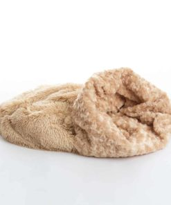 Camel beige 3 in 1 shaggy nest dog blanket