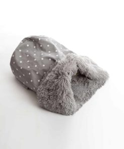 Dotty grey and shaggy pile luxury dog sleeping bag