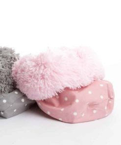 Dotty pink rose and shaggy pile luxury dog sleeping bag