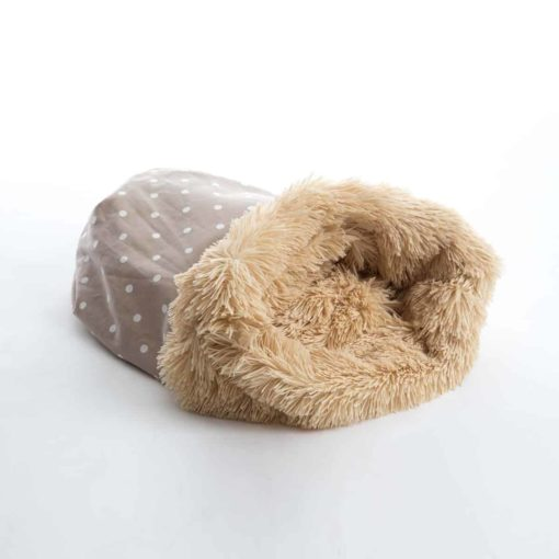 Dotty taupe and shaggy pile luxury dog sleeping bag